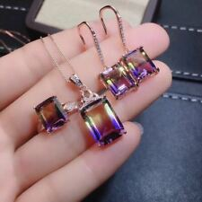 Natural Ametrine Quartz S925 Sliver Pendant Ring Earrings + Chain Set Gift