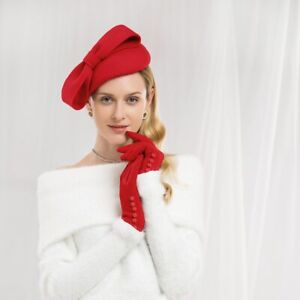 Teardrop Women 1940s 100% Wool Fascinator Hat Bow Tam Beret Casque Cocktail A568