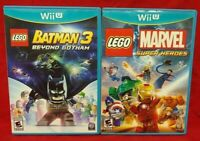 Lego Batman 3 + Marvel Super Heroes  Nintendo Wii U 2 Game Lot Tested 1 Owner