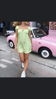 MOTEL ROCKS Gaval Mini Dress in Satin Rose Lime L Large  (mr25)
