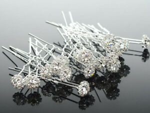 15 PCS Wedding Bridal Prom Flower Crystal CZ Hair Pins Bobby Pins