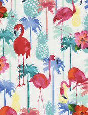 Timeless Treasures Flamingos & Pineapples White 100% cotton fabric by the yard