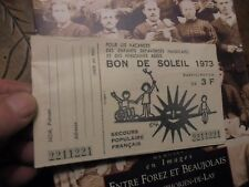Ancien Billet de Tombola BON DE SOLEIL 1973 Secours Populaire Français