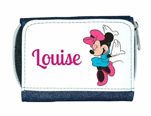 *Personalised* Denim Purse With Cute Minnie Mouse Style Design