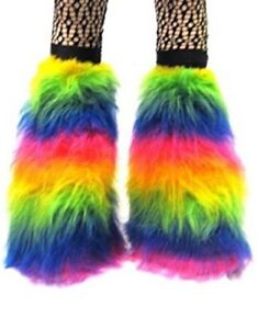 New Neon Multi Rainbow Fluffy Legwarmers Boot Covers Cyber Rave Boot Fluffies