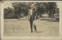 Croquet - Man in Bowtie Holding Mallet c1910 Real Photo Postcard myn