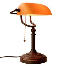 Vintage Matte Amber Banker Desk Lamp Pull Chain Switch Glass Light