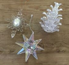 Lot of 3 acrylic Christmas holiday ornaments Pine Cone Icicle Star FREE SHIPPING