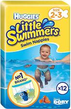 HUGGIES pannolini piccoli nuotatori Nuoto Taglia 2-3 (12) consegna gratuita nel Regno Unito