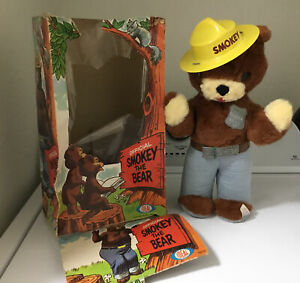 "VIntage Ideal Smokey Bear Plush Doll, 13"", 1967 good Condition With Rough Box"