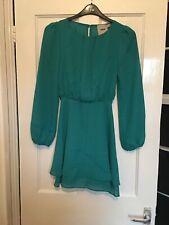 Asos Size UK 10 Long Sleeve Green Chiffon Dress.   (f11)