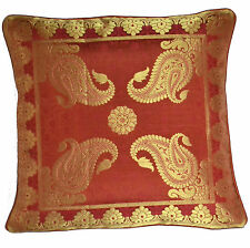 "INDIAN 16"" Scatter Cushion Covers Antique Ethnic Banarasi Silk Rust Gold Orange"