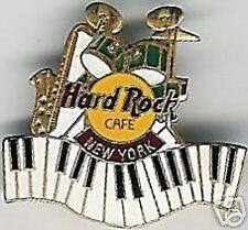 Hard Rock Cafe NEW YORK Drum Kit Sax Piano Keys PIN #6457 Grid Back 2LC w/Clasp