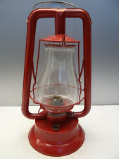 Vintage Used Old Metal Clear Glass Red Tubular Oil Barn Lantern Lamp