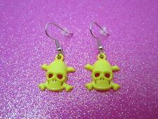 Yellow Skull Cross Bone Earrings