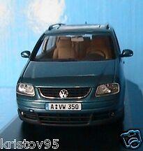 VW VOLKSWAGEN TOURAN 2002 BLUE METALLIC MINICHAMPS NEW 1/43 TURQUOISE