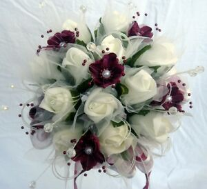 Bridesmaids Posy Bouquet, Ivory Roses, Burgundy flower with pearls and crystals