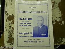 Vintage Program of 8th Anniversary of Rev. L.W. Craig - 1961 - Detroit, Mi