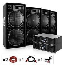 EQUIPO DJ 4 ALTAVOCES 1000W POTENCIA  2 AMPLIFICADORES SONIDO SET DE CABLES PA