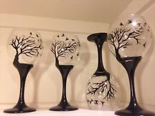 Art wine Glasses black Tree And Birds set Of 2 dishwasher saf
