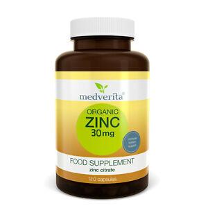 ORGANIC ZINC CITRATE + INULIN (prebiotic fibre) 120 caps NO FILLERS, BINDERS