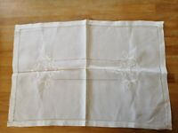 ANTIQUE WHITE LINEN TABLE CENTRE TRAY CLOTH 19.5 X13.5 inches