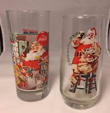 """Collectible Coca-Cola Santa Claus Drinking Glasses, set of 2, 6-1/4"""" high"""