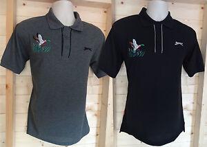 Mens Size Small Hunting Fishing Mallard Shooting - Black or Grey Polo Shirt