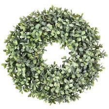 "17"" Artificial Greenery Wreath Boxwood Wreath Home Garland Front Door Decoration"