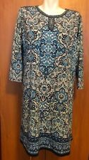 Max Studio Woman Long Top Shirt Tunic Short Dress Plus Size 1X XL White Blue New
