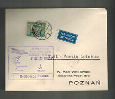1929 Katowice to Poznan Poland  First Flight Cover FFC