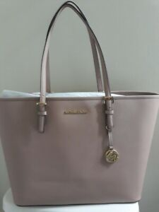 NWT Michael Kors Pink  Jet Set Travel LG MF Carryall Tote Fawn Leather Shoulder