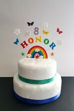 Rainbow butterfly birthday cake topper  decoration,  personalised  name and age