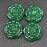 Natural Green Aventurine Quartz Crystal Carved Rose Flower Pendant DIY Reiki 1Pc