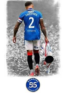 "Glasgow Rangers ""James Tavernier 55"" Colour A4 Digital UNFRAMED Print"