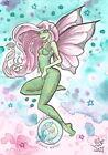 Mint Breeze Cartoon Fairy pink green fae Open Edition Fantasy ACEO art PRINT ejw