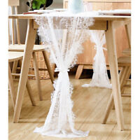 White Lace Table Runner Wedding Tablecloth Chair Sash Boho Party Table Decor