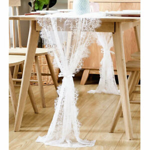 White Lace Table Runner Floral Tablecloth Boho Wedding Banquet Party Table Decor