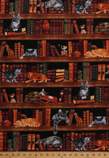 Cats Books Kittens Library Bookshelves Animals Cotton Fabric Print BTY D575.70