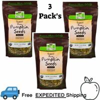 3 Pack's Now Foods, Real Food, Organic, Raw Pumpkin Seeds, Unsalted, 12 oz