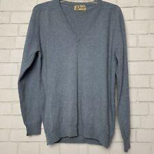 Pringle Vintage Cashmere Sweater 42 V Neck Blue