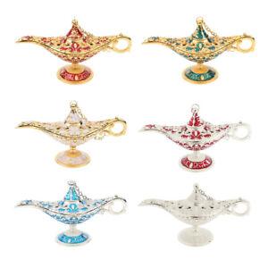 Shiny Vintage Zinc Alloy Aladdin Genie Light Lamp Tabletop Arabian Accent