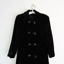 Vintage 40s BLACK VELVET COAT long maxi GOLD GLASS BUTTONS Antique 1940s ELEGANT