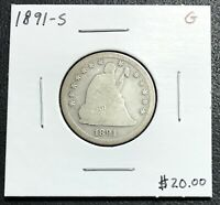1891-S U.S. LIBERTY SEATED QUARTER ~ GOOD CONDITION! $2.95 MAX SHIPPING! C2979