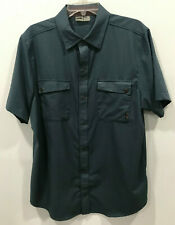 Go Lite Short Sleeve Button Front Shirt Large Blue Brown Polyester