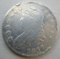 1817 Capped Bust Half VF Very Fine obv XF Rev Cleaned Shattered Die R4 O-105a