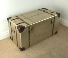 Large Aviator Storage Chest INDUSTRIAL / VINTAGE STYLE TRUNK *Aluminium Finish*