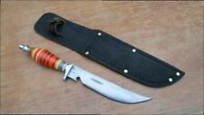 Colorful Custom Vintage Theater-Made Carbon Steel Hunting Knife w/Caplifter