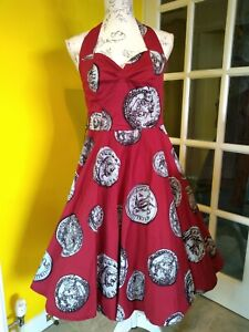 Grace Karin Red Coin Print Halterneck Swing Dress Size 12