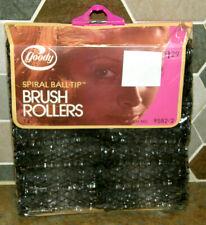 "NOS Sealed Vintage Goody Medium 11/16"" Black Spiral Brush Hair Rollers Qty. 14"